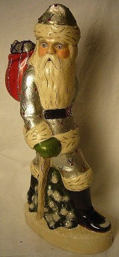 VAILLANCOURT FOLK ART WALKING SANTA SILVER