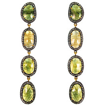 Sapphire Gemstone 14k Gold Pave 2.5ct Diamond Dangle Earrings 925 Silver Vintage - $1,963.76