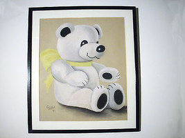 Rare~Original Chalk Bear Artwork Drawing  by C. Pettit 1981~Wall Art - $59.99