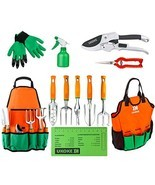 UKOKE Garden Tool Set, 12 Piece Aluminum Hand Tool Kit, Garden Canvas Apron with - $59.93 CAD