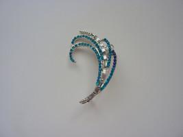 Silver and crystal ear cuff, blue ear cuff, Sil... - $8.00