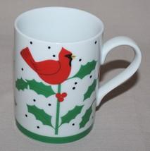 Department Dept 56 Boughs of Holly White Mug Cardinals Christmas Winter - $9.85