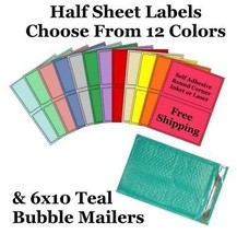 6x10 ( Teal ) Poly Bubble Mailers + Half Sheet Self Adhesive Shipping La... - $2.99+