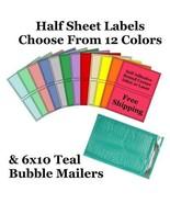 6x10 ( Teal ) Poly Bubble Mailers + Half Sheet Self Adhesive Shipping La... - $2.99+