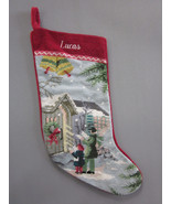 Lands End Needlepoint Christmas Stocking LUCAS Carolers Monogrammed New - $24.70