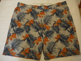 Men's St. John's Bay Legacy Flat Front Shorts Grey Shadow Leafy  Size 44... - $19.79