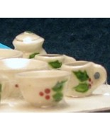 Dollhouse Christmas Mugs & Accessories 13-pc Holly motif white By Barb N... - $25.00