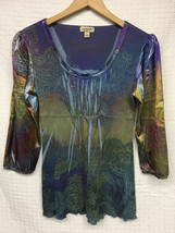 GUC Women's ONE WORLD Multi-Color Shirt Top Size Small BOHO Hippie Tie Dye - $18.00