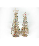 Set of Wire Christmas Trees with Beads and Glitter - $16.99