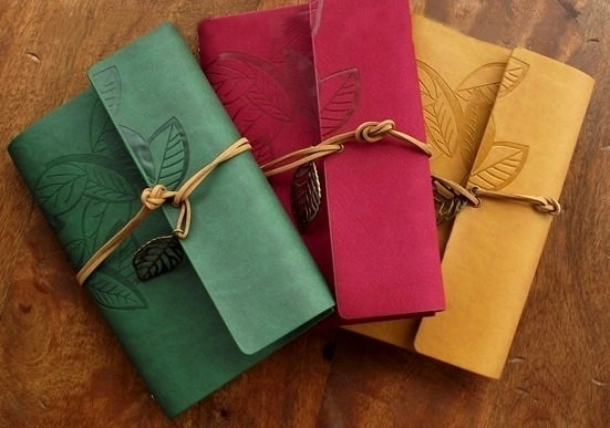 Kerridwens Leaf Embossed Leather Journal