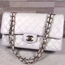 Authentic Chanel White Medium Caviar Double Flap Bag Gold hardware