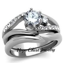 HCJ STAINLESS STEEL 0.75 CT ROUND CUT CZ ENGAGEMENT WEDDING RING SET SIZ... - $18.48