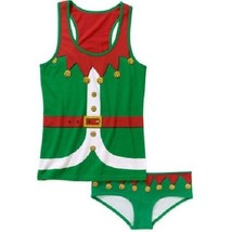 NEW WOMENS PLUS SIZE 2X GREEN & RED ELF 2 PIECE CAMI AND PANTY PANTIES P... - $19.34
