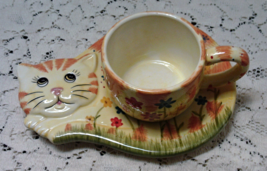 Vintage Tabby Cat Snack Plate With Cup // Hand Painted Wildflower Design - $11.25