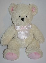 PBC Ivory TEDDY BEAR Pink Plush Ears Feet Bow C... - $22.18