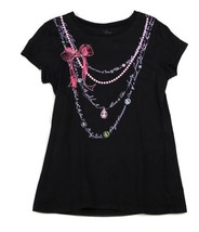The Childrens Place Black Necklace Tee T Shirt Fashion Bow Pearls Sparkle 10 12 - $5.93