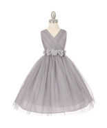Silver V-Neck Pleated Crystal Tulle Bridesmaid Pageant Party Flower Girl... - $48.00+