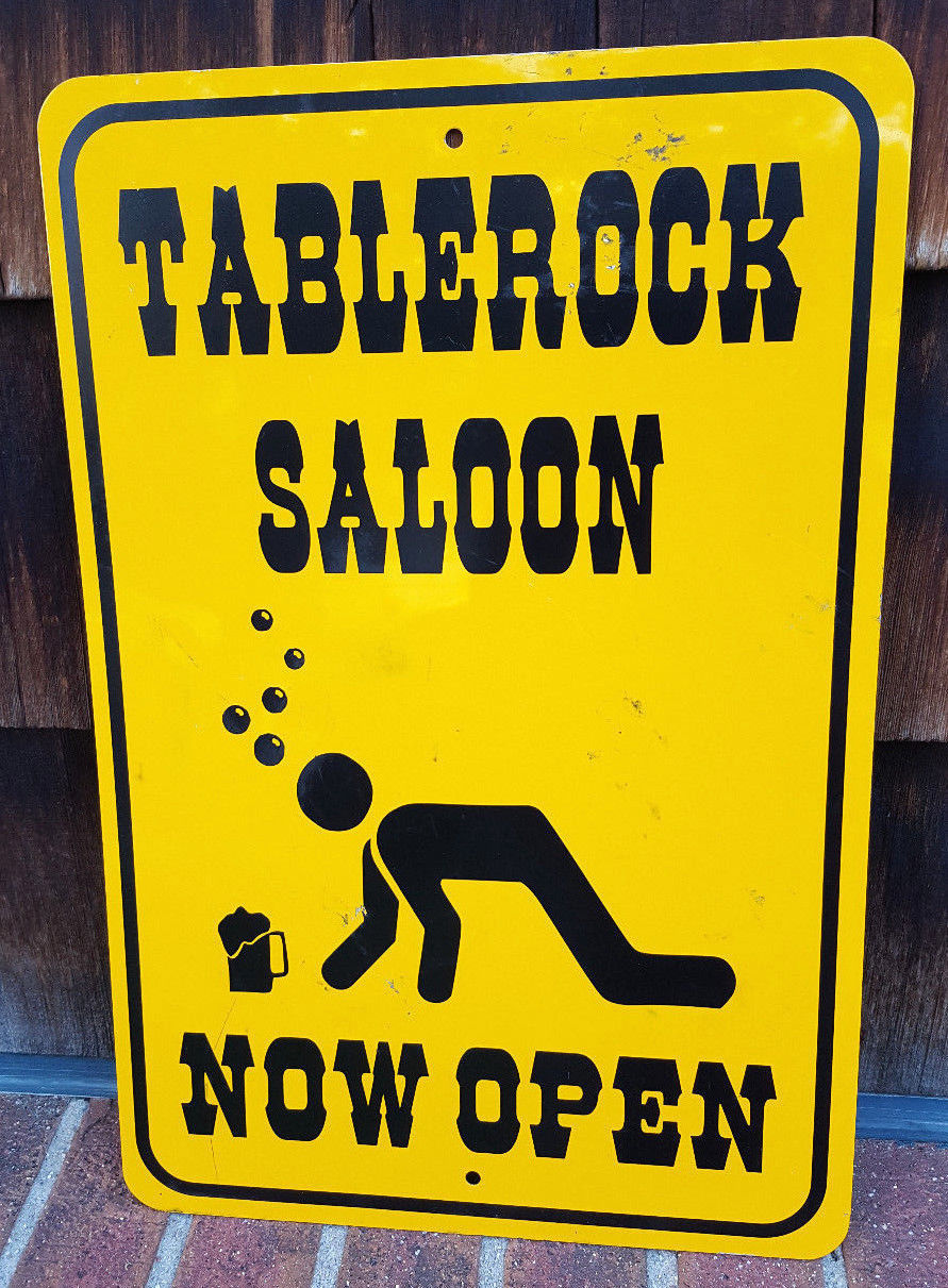 "Primary image for TABLEROCK SALOON Metal Bar Sign-Now Open-18"" x 12""-Yellow Street Sign-Beer Crawl"