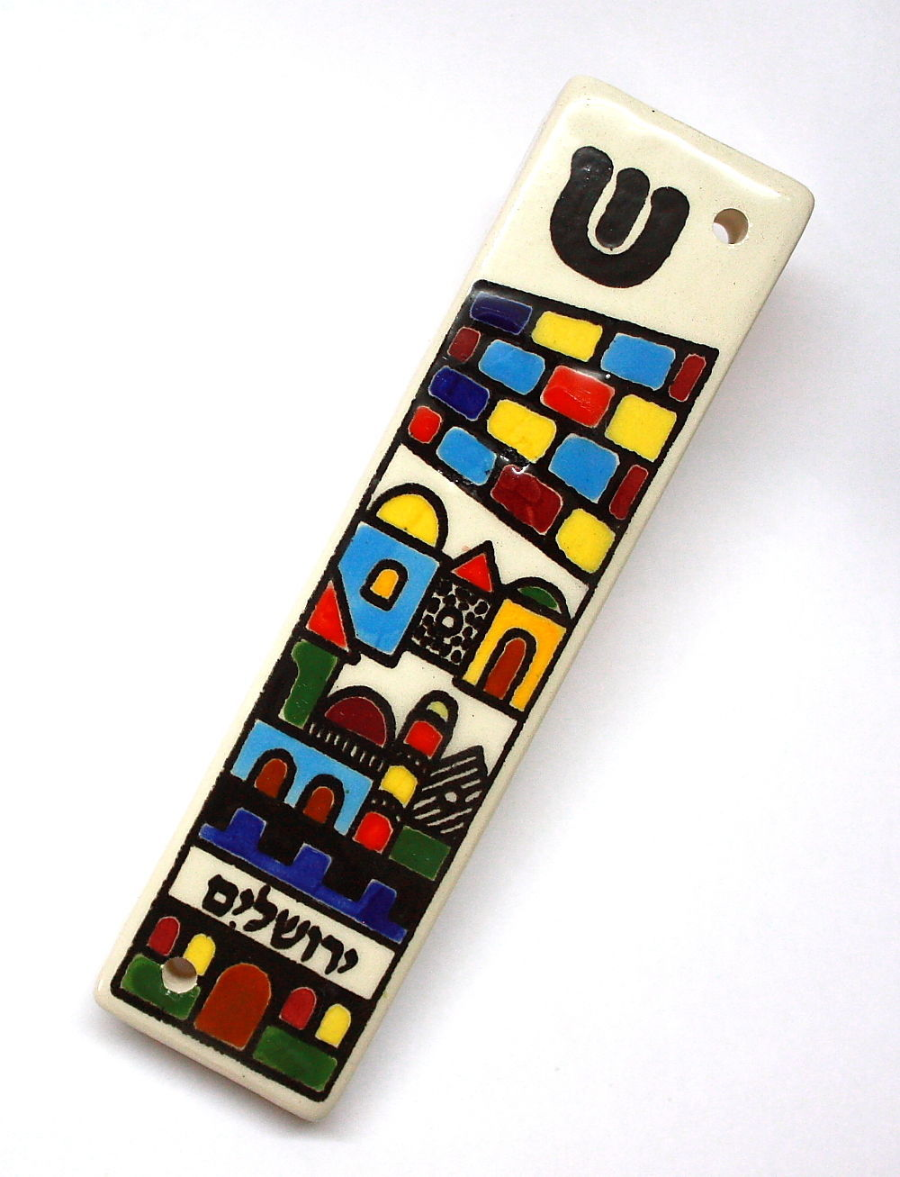 Armenian Ceramic Mezuzah Case 10 cm Colorful Jerusalem Design Judaica Israel