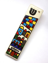Armenian Ceramic Mezuzah Case 10 cm Colorful Jerusalem Design Judaica Israel image 1