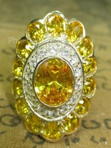 Blessed Magic Yellow Gem Stone Ring Super Charm Power Thai Buddha Amulet... - $12.99