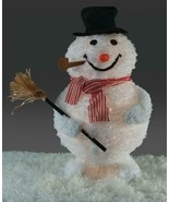Jolly Snowman w Broom Lighted Tinsel Collapsible Christmas Yard or Porc... - $44.43