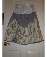 Size 6 CAbi #917 Treasure Skirt  A-line Painted Floral Cotton Womens - $32.40