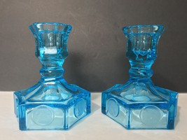 Vintage Fostoria Azure Blue Candlestick Holders... - $18.69