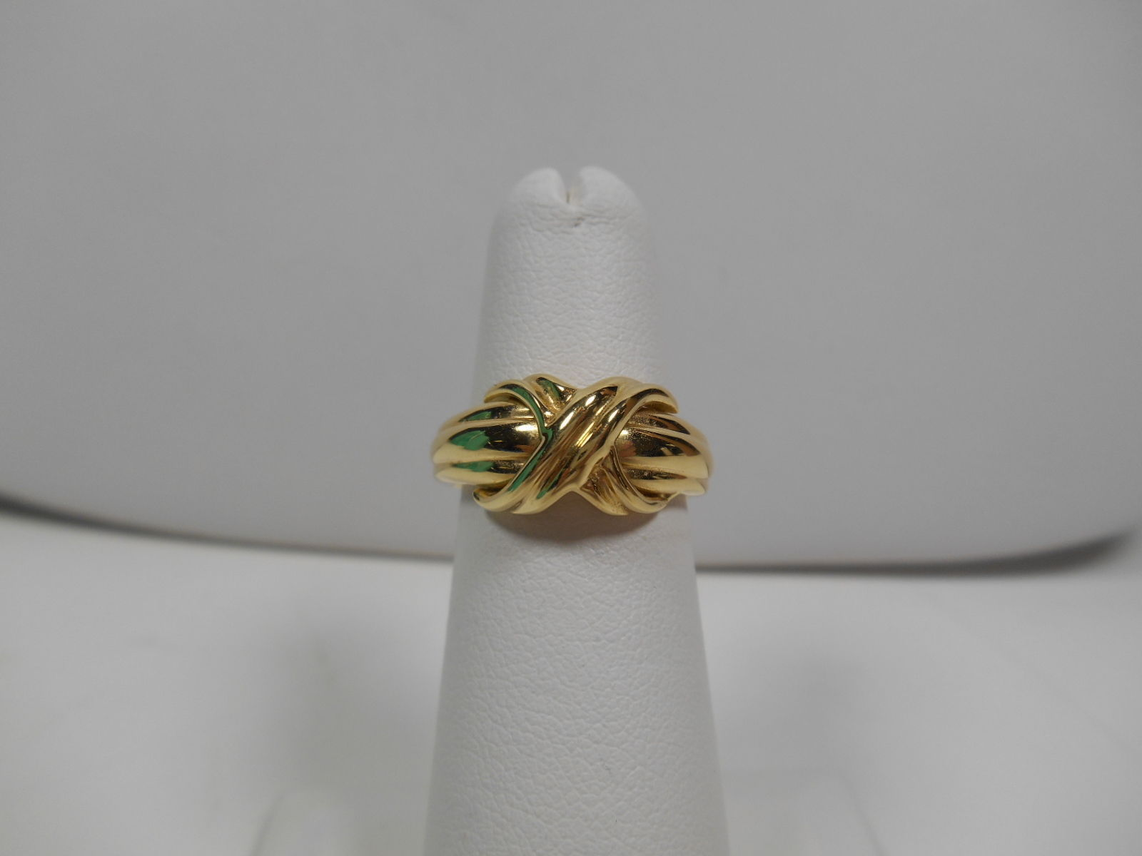 Tiffany & Co.18K Gold Signature X Kiss Rare Wide Band Ring Sz 5 EUC