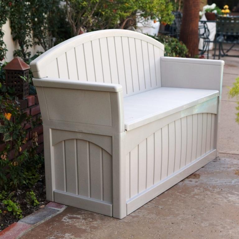 Patio Storage Bench Plastic Box 2 Seats Outdoor Furniture ...