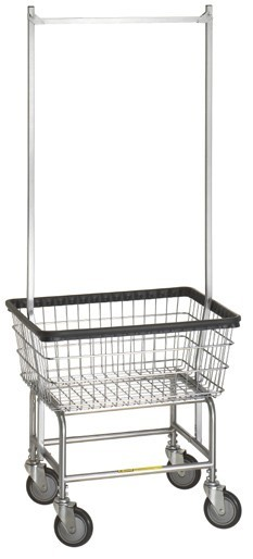 Narrow Laundry Cart w/ Double Pole Rack Model Number 100D58