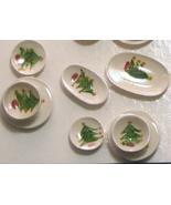 Dollhouse Christmas Tree Dishes 14-pc white By Barb plates bowls platt N... - $25.00