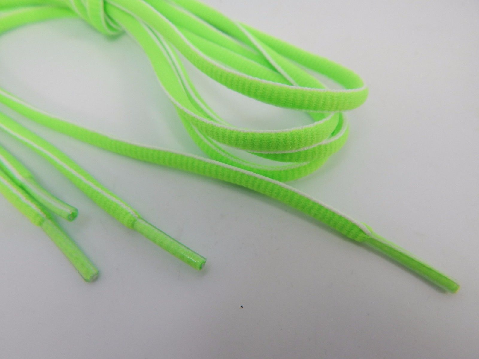 """Green White Round Athletic Shoe Laces 54"""" inches will work for 8 pair of eyelets"""