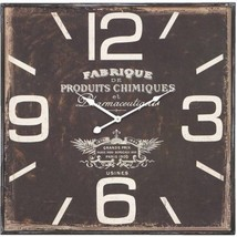 Square Metal Wall Clock With Dark Rustic Finish Oversized Numeral Graphi... - $65.46