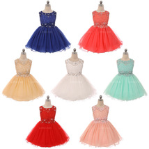 Mini Dress Lace Bodice Rhinestones Neckline Waistline Birthday Flower Gi... - $55.00+