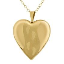 GOLD PLATTED STERLING SILVER FOOTPRINT LOCKET PENDANT , HEART LOCKET WIT... - $18.68