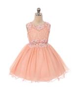 Peach Mini Lace Bodice Rhinestones Neckline Waistline Birthday Flower Gi... - $55.00+