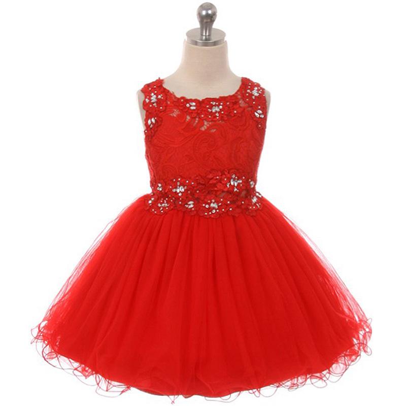 Red Mini Lace Bodice Rhinestones Neckline Waistline Birthday Flower Girl Dress for sale  USA