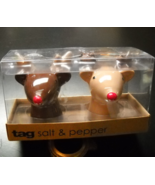 Tag Salt and Pepper Shaker Set Reindeer Two Tone Brown Red Noses Boxed U... - $8.99