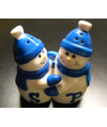 Snowmen Salt and Pepper Shaker Set Embracing Pair in Blue Hat Scarf and ... - $8.99