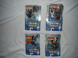 4 star wars 2002 attack of the clones figures new in box anakin yoda sae... - $15.44