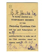 Darjeeling Gymkhana Club Temporary Membership Card 1947 West Bengal India - $34.65