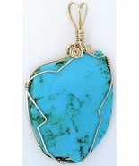 Turquoise Silver Wire Wrap Pendant 16 - $34.99