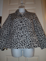 Additions By Chicos Black White Animal Print Button Front Jacket Size 3 ... - $46.36