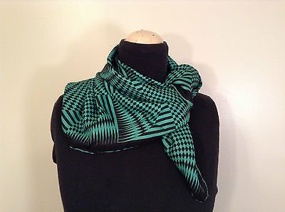 Black Green 100 Percent Silk Abstract Square Scarf Wrap Shawl