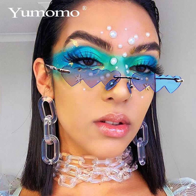 sunglasses women metal women brand designer fashion rimless love clear ocean lenses sun glasses