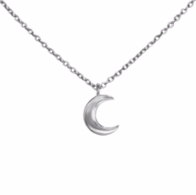 Sterling Silver Crescent Moon Necklace, Tiny Crescent Pendant Moon Necklace - $16.85