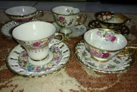5 cups and saucers Royal Ashley, Tilso Japan lustre gold Roses - $60.31