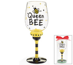 Burton 16 oz Wine Glass Queen Bumble Bee Whimsical Gift - $34.95
