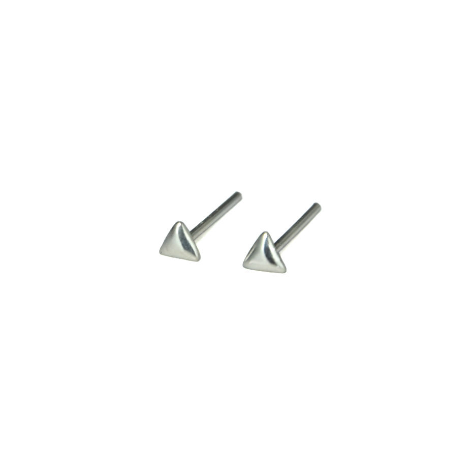 Primary image for Tiny Silver Triangular Stud Earrings, 2mm 925 Sterling Silver Earrings, Triangle
